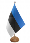 Estonia Desk / Table Flag with wooden stand and base